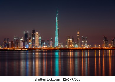December 13th, Dubai UAE, A view of the Iconic Dubai Skyline from Dubai Creek