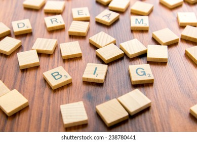 December 14, 2014: Houston, TX, USA - Scrabble tiles spelling DREAM BIG