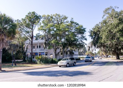 DECEMBER 14 2017 - BEAUFORT, SC: City street in Beaufort South Carolina during a sunny day. This is a small southern town in the Southeastern United States