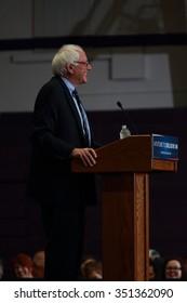 DECEMBER 15, 2015-MOUNT VERNON, IOWA Bernie Sanders speaks at rally at Cornell College