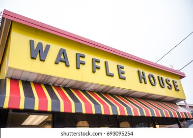 DECEMBER 15 2016 - ATLANTA GEORGIA: Close up of a Waffle House restaurant in Georgia. Waffle House is a popular chain restaurant serving breakfast in the Southern United States