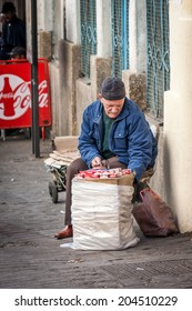DECEMBER 15,2012-TANGIER, MOROCCO: In the picture we can see a street selling cigarettes on the streets of the old medina of Tangier