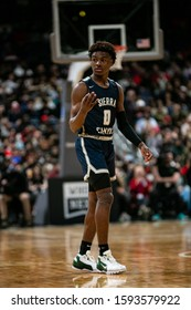 """December 15th, 2019:  LeBron """"Bronny"""" James Jr. (0) during the H.S. basketball game between the St. V. Irish and Sierra Canyon Trailblazers at Nationwide Arena in Columbus, OH. Mark Alberti/1022"""