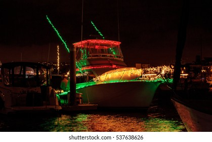 December 16, 2016 ?? Newport Beach, CA, USA: Colorful holiday lights on sailboats and ships in the Balboa Harbor for the Newport Beach Christmas Boat Parade. Editorial use only.