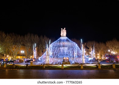 December 16, 2017. Aix-en-Provence, France. Rotunda Fountain, Christmas decoration.