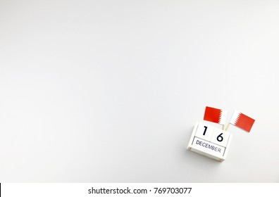 December 16 Wooden calendar Concept independence day of Bahrain and Bahrain national day with space for your text.