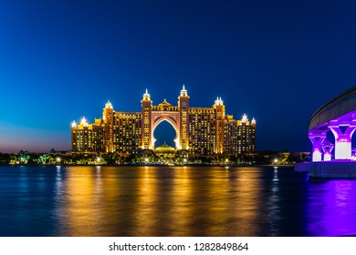 December 16th 2018, Dubai UAE, A view of the Luxurious Atlantis Hotel in Palm Jumeirah taken at the blue hour.
