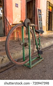 December 17, 2014 San Cristobal de las Casas, Mexico: foot propelled knife sharpener made of an old bicycle