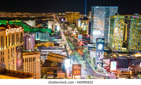 December 17 2016 : View of Las Vegas Strip Skyline at night from Eiffel Tower : Las Vegas Nevada USA : For Editorial Used Only
