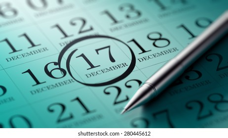 December 17 written on a calendar to remind you an important appointment.