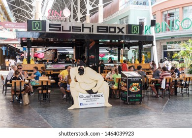 December 17th 2017 - Phuket, Thailand: People eating in a japanese restaurant. This is in the Jung Ceylon shopping centre in Patong.