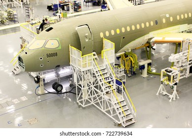 December 18, 2015-Mirabel: Canada:Bombardier C-Series jet assembly line.  September 26, 2017 the United States imposed a 220 per cent duty on planes