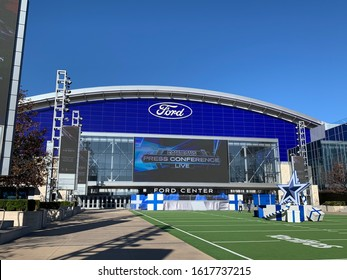 December 18, 2019 Frisco, Texas USA The Ford Arena at the Star in Frisco Texas decorated for Christmas Holidays. The star is the headquarters for the Dallas Cowboys NFL Franchise.