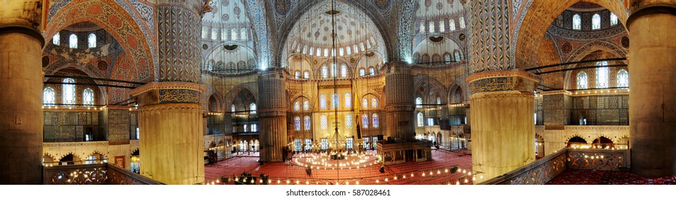 DECEMBER 18,2009.ISTANBUL Blue Mosque interior.(SULTANAHMET CAMII)A panoramic view from inner balcony.