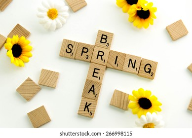 December 19, 2014: Houston, TX, USA (Illustrative Editorial) - Scrabble word game wood tiles spelling Spring Break
