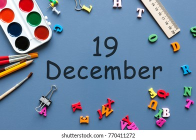 December 19th Day 19 Of Month Calendar On Businessman Or Schoolchild Workplace Background