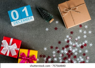 December 1st. Image 1 day of december month, calendar at christmas and new year background with gifts