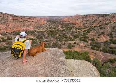 December 20, 2015 Palo Duro, Texas: man sitting on cliff with dog while taking a break from hiking the Palo Duro canyon