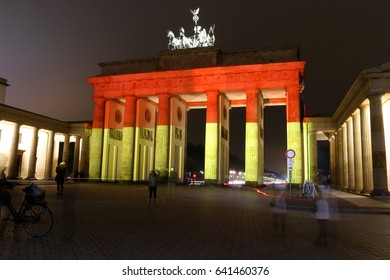 """DECEMBER 20, 2016 - BERLIN: the """"Brandenburger Tor"""" (Brandenburg Gate) has been illuminated in the German national colours after the terror attack on the christmas holiday market a day before."""