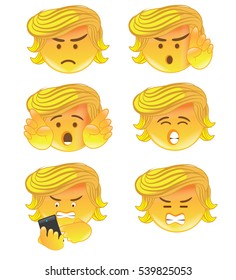 DECEMBER 20, 2016: Illustrative editorial cartoon; a set of Donald Trump emoticons with Trump varying emotions, angry, speaking, texting.