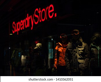 December 20, 2017; Bangkok, Thailand. The display window of the Superdry store in the Siam Paragon building, Bangkok.