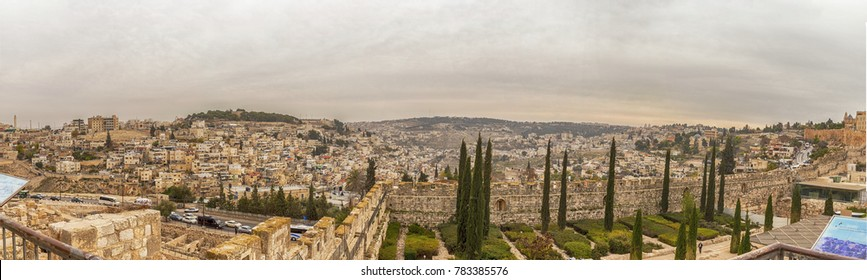 December 20, 2017. Panorama of Jerusalem - residential areas and the wall of the Old City