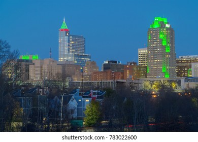 December 20017. Raleigh, NC downtown illuminated for winter holidays season. Raleigh is recognized as one of the best places to live in the USA.