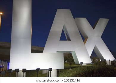 DECEMBER 2007 - Night shot of Los Angeles International Airport sign, LAX, in Los Angeles, California