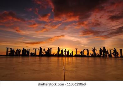 december 2009 sunset at losari beach, makassar south sulawesi, indonesia