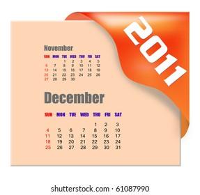 December of 2011 calendar