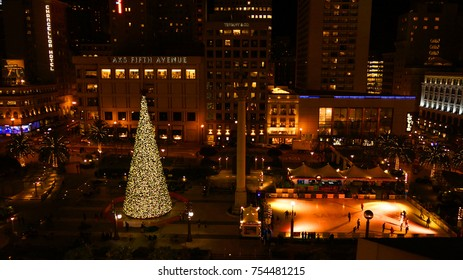 December 2012: Night photo from famous Union Square at Christmas time, San Francisco, California, United States of America