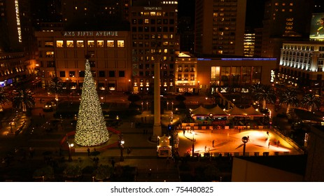 December 2012: Photo from famous Union Square at Christmas time, San Francisco, California, United States of America