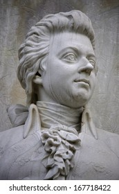 "DECEMBER 2013 - BERLIN: the bust of Wolfgang Amadeus Mozart at the conductors monument (""Komponistendenkmal"") in the Tiergarten park of Berlin."