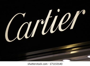 "DECEMBER 2013 - BERLIN: logo of the brand ""Cartier"", Berlin."