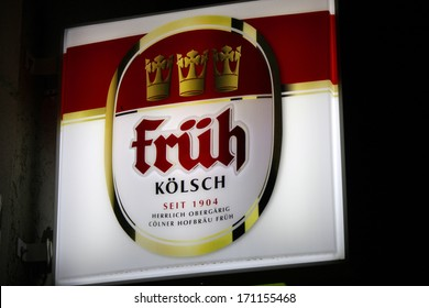 "DECEMBER 2013 - BERLIN: the logo of the brand ""Fr�¼h K�¶lsch"" (""Frueh Koelsch""), Berlin."