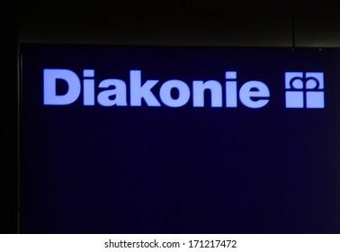 "DECEMBER 2013 - BERLIN: the logo of the brand ""Diakonie"", Berlin."