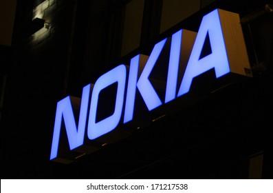 "DECEMBER 2013 - BERLIN: the logo of the brand ""Nokia"", Berlin."