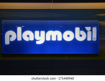 "DECEMBER 2013 - BERLIN: the logo of the brand ""Playmobil"", Berlin."