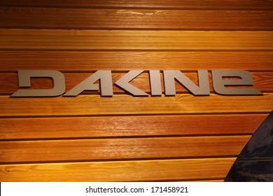"DECEMBER 2013 - BERLIN: the logo of the brand ""Dakine"", Berlin."
