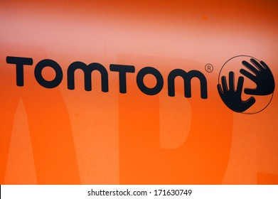 "DECEMBER 2013 - BERLIN: the logo of the brand ""TomTom"", Berlin."