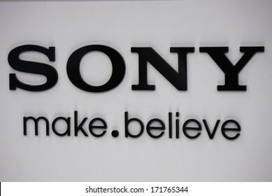"DECEMBER 2013 - BERLIN: the logo of the brand ""Sony"", Berlin."