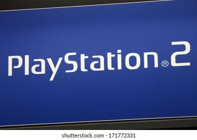 "DECEMBER 2013 - BERLIN: the logo of the brand ""Play Station 2"" (Sony), Berlin."