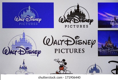 "DECEMBER 2013 - BERLIN: the logo of the brand ""Walt Disney Pictures""."