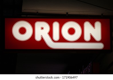 "DECEMBER 2013 - BERLIN: the logo of the brand ""Orion"", Berlin."