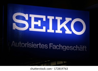 "DECEMBER 2013 - BERLIN: the logo of the brand ""Seiko"", Berlin."