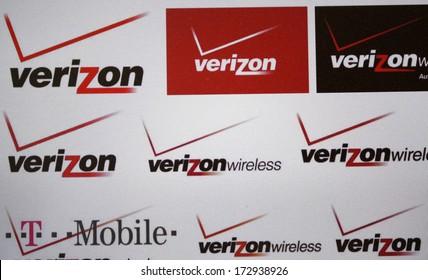 "DECEMBER 2013 - BERLIN: the logo of the brand ""Verizon"", Berlin."