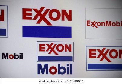 "DECEMBER 2013 - BERLIN: the logo of the brand ""Exxon Mobil"", Berlin."