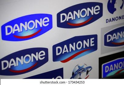 "DECEMBER 2013 - BERLIN: the logo of the brand ""Danone"", Berlin."