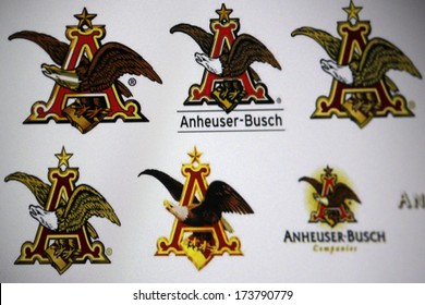"DECEMBER 2013 - BERLIN: the logo of the brand ""Anheuser Busch""."