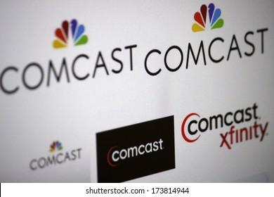 "DECEMBER 2013 - BERLIN: the logo of the brand ""Comcast""."